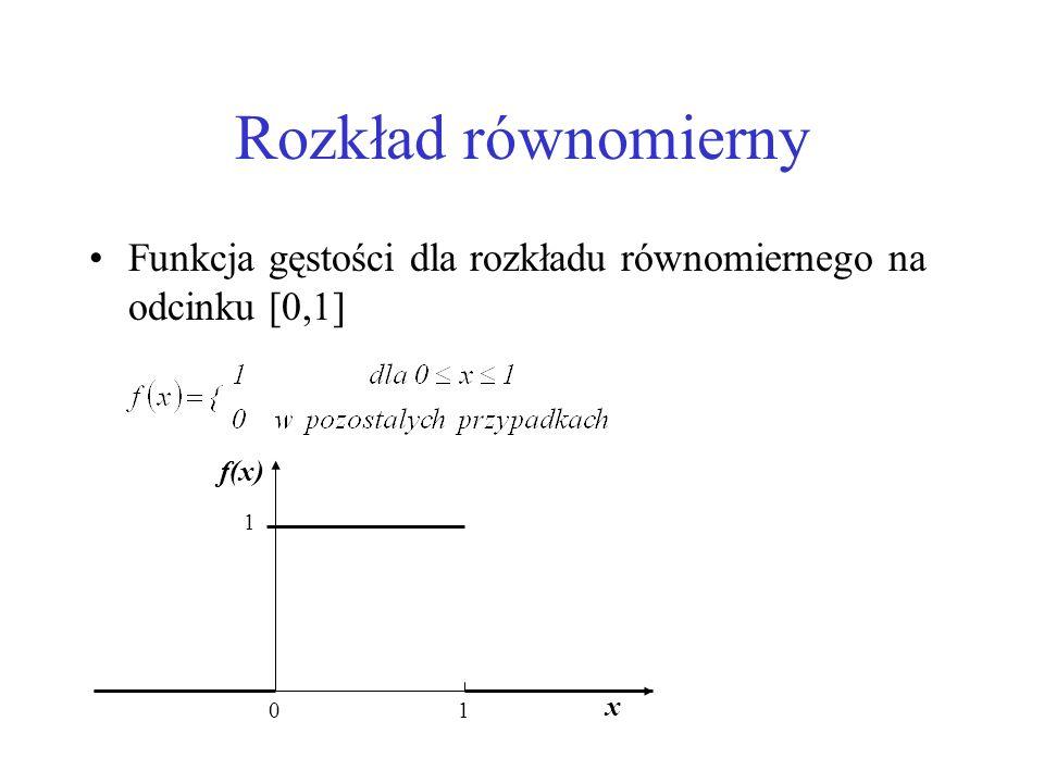 Rozkład równomierny Funkcja gęstości dla rozkładu równomiernego na odcinku [0,1] 1 x f(x)